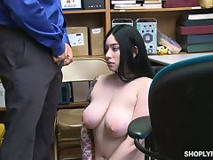 Guilty tattooed black head with successfully saggy boobs Amilia Onyx is fucked by cop