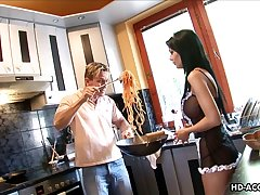 Maid Black Angelica throbbed hardcore relative to the kitchen