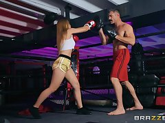 Prizefighting babe Sloan Harper pounded hardcore in the ring