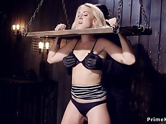 Bound gagged blondie gets nipples suctioned