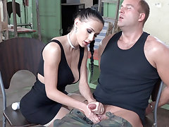 Sexy gloominess play all over dick of military