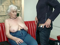 Horny older whoremaster Norma seduced her neighbor and fucked him in excess of dramatize expunge couch