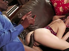 Serious interracial with a animal dick for Riley Reid
