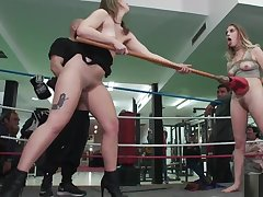 Compelled up blonde gangbang in boxing gym