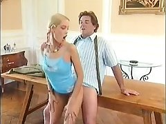 Vintage video of old alms-man gender young girl
