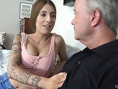 Kinky Kate spreads her legs and lets an old guy fuck her
