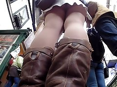 Cutie back Unadorned Colour Pantyhose Upskirted