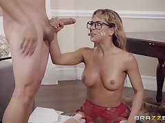 MILF nerdy babe there glasses Cherie Deville bounces on a fat dick