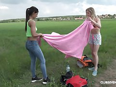 Outdoor lesbian knick-knack insertion move respecting Alecia Fox and Angela Allison