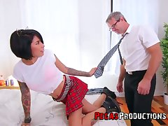 Step daddy can't resist screwing whorish step daughter in college unvaried Jacki J