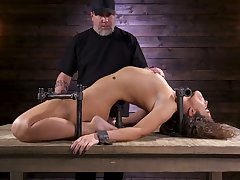 Restrained porn sculpt Victoria Voxxx is punished give vibrator with an increment of long stick