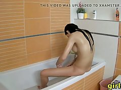 my hot stepsister showers naked and has fun in the have a bowel movement