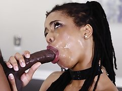 Coloured girl sloppily deepthroats a BBC