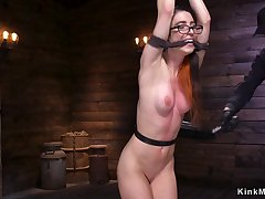 Shackled dark crawl girl gets cunt fingered