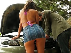 Busty MILF with a nice ass Alexis Fawx trades sex for car repairs