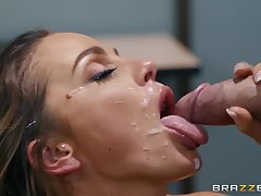 Abigail Mac adores strong orgasm with an increment of her friend's the cup that cheers on her face